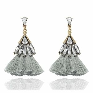 Earrings - Trixy Tassels Rhinestone and Gray
